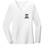 Golden Retriever Freedom Rescue Colorado Flag Logo - Left Chest - Women's V-Neck Long Sleeve T-Shirt