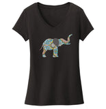 Elephant Mosaic - Women's V-Neck T-Shirt