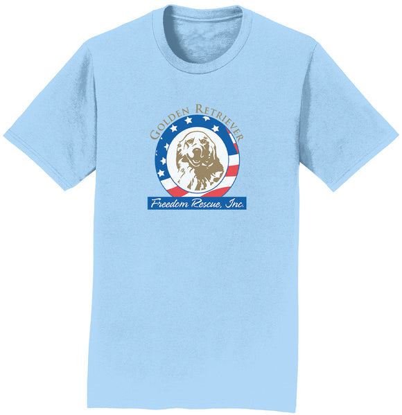 GRFR - Golden Retriever Freedom Rescue Logo - Full Front - Adult Unisex T-Shirt