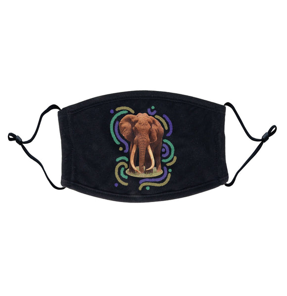 Wiggly Lines Elephant - Adult Adjustable Face Mask