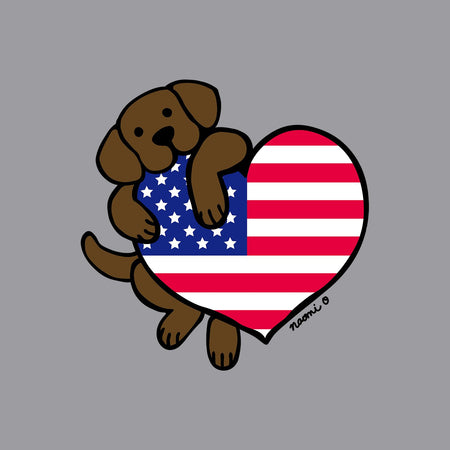 Chocolate Lab USA Flag Heart Left Chest - Adult Unisex T-Shirt