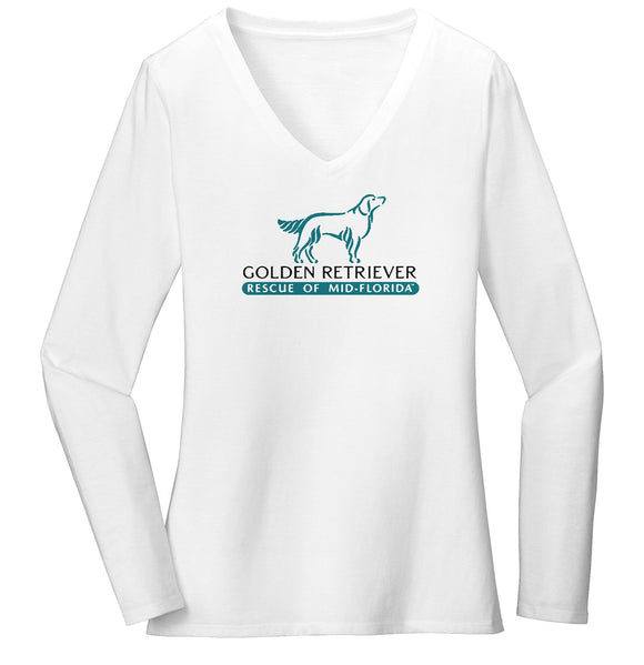 Golden Retriever Rescue of Mid-Florida Logo - Ladies' V-Neck Long Sleeve T-Shirt