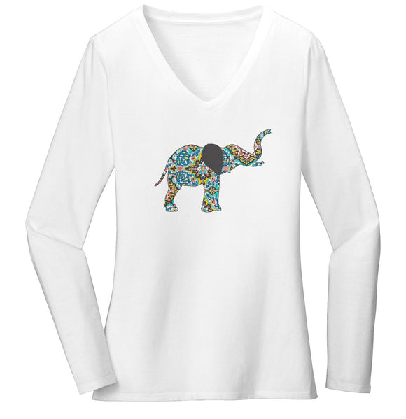 Elephant Mosaic Women's V-Neck Long Sleeve T-Shirt | International Elephant Foundation