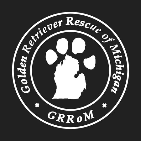 Golden Retriever Rescue of Michigan Logo - Left Chest White - Women's V-Neck T-Shirt