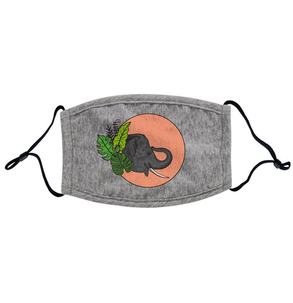 Elephant and Sun Illustration Adjustable Face Mask | International Elephant Foundation