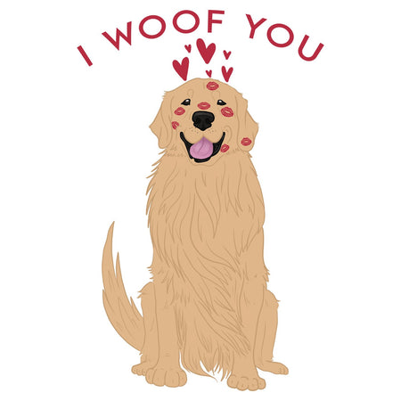 Golden Retriever I Woof You - Women's V-Neck T-Shirt