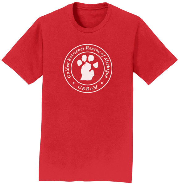 Golden Retriever Rescue of Michigan Logo - Full Front White - T-Shirt