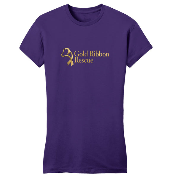 Gold Ribbon Rescue Logo - Ladies' Fitted T-Shirt
