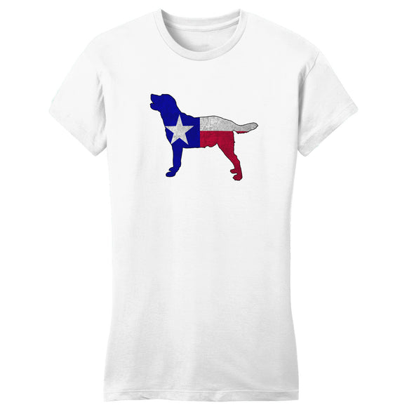 - Texas Flag Pattern Lab Silhouette - Women's Fitted T-Shirt