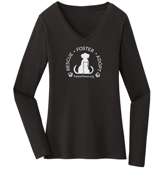 Parker Paws Rescue Foster Adopt - Women's V-Neck Long Sleeve T-Shirt