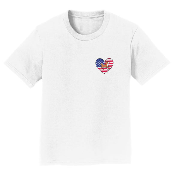 Parker Paws Store - USA Flag Heart Shiba Inu Trotting Left Chest - Kids' Unisex T-Shirt