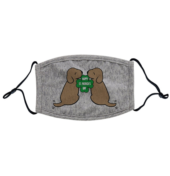 Happy St. Patrick's Day Chocolate Lab Puppies - Adult Adjustable Face Mask