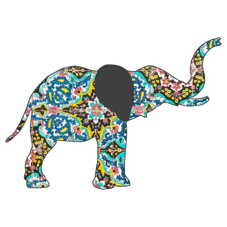 Elephant Mosaic - Women's V-Neck Long Sleeve T-Shirt