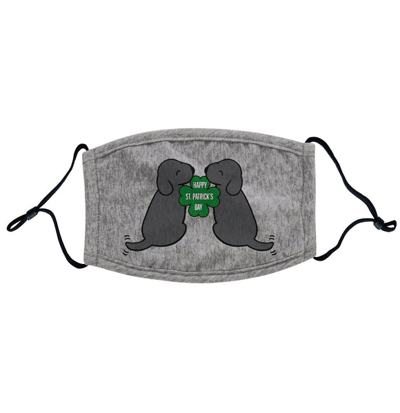 Happy St. Patrick's Day Black Lab Puppies - Adult Adjustable Face Mask