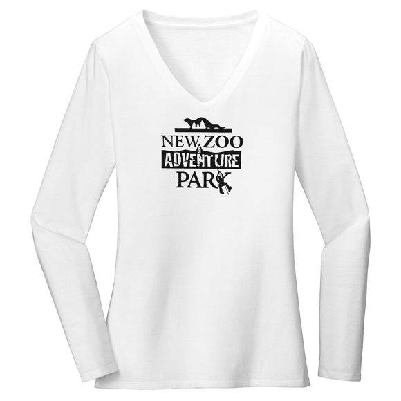NEW Zoo & Adventure Park - Black & White Logo - Women's V-Neck Long Sleeve T-Shirt