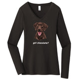 WCLRR - Got Chocolate - Women's V-Neck Long Sleeve T-Shirt