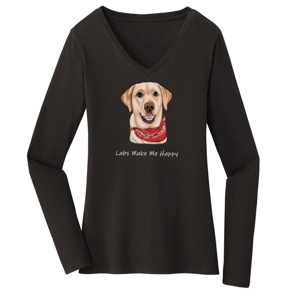 WCLRR - Labs Make Me Happy - Women's V-Neck Long Sleeve T-Shirt