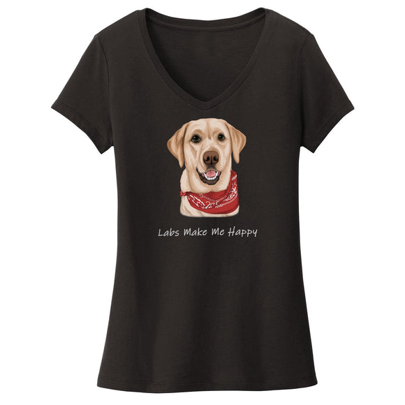WCLRR - Labs Make Me Happy - Women's V-Neck T-Shirt