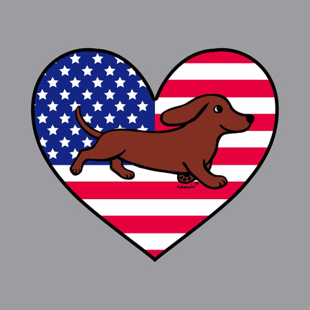 USA Flag Heart Red Smooth Doxie Running Left Chest - Adult Unisex Hoodie Sweatshirt