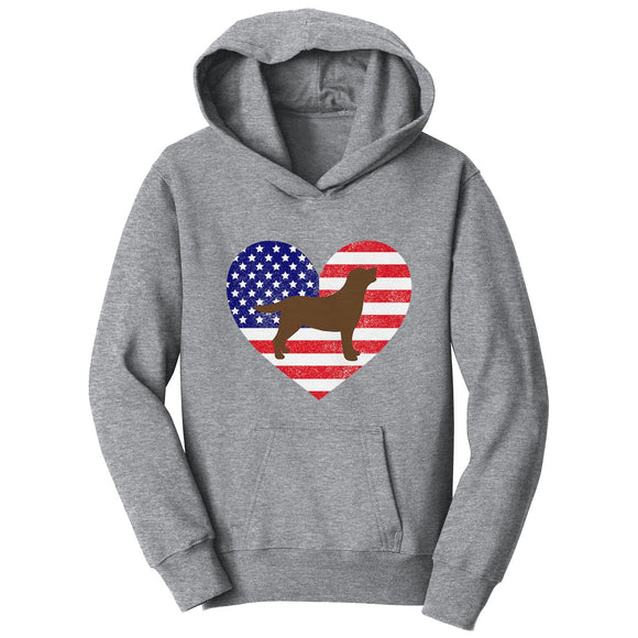USA Flag Chocolate Lab Silhouette - Kids' Hoodie Sweatshirt - WCLRR Online Store