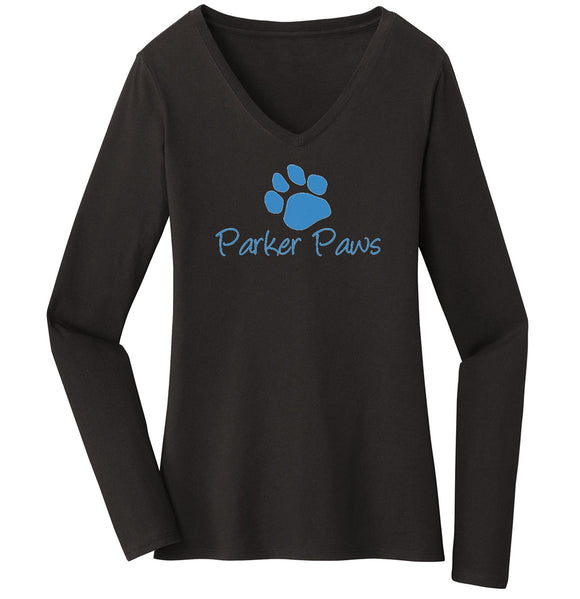 Parker Paws Blue Paw Print Logo - Women's V-Neck Long Sleeve T-Shirt