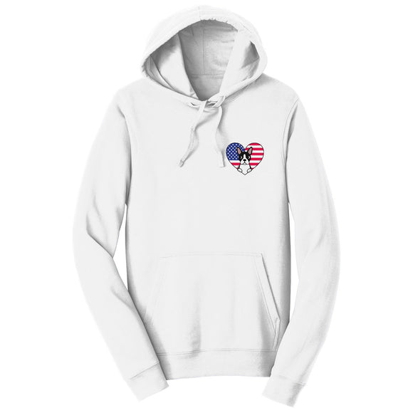 Parker Paws Store - USA Flag Heart Boston Terrier Face Left Chest - Adult Unisex Hoodie Sweatshirt