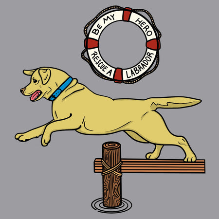 Labrador Dock Dive - Adult Unisex Long Sleeve T-Shirt