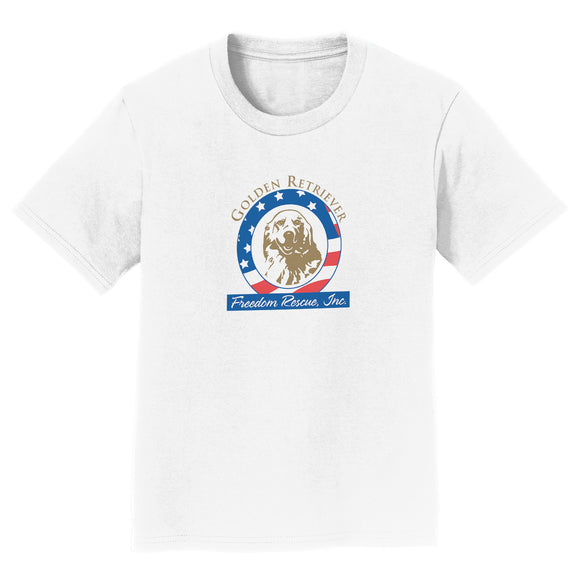 GRFR - Golden Retriever Freedom Rescue Logo - Full Front - Kids' Unisex T-Shirt