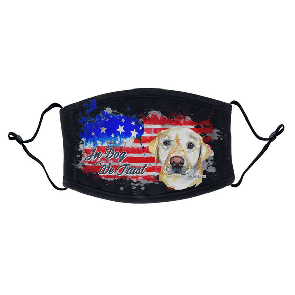 WCLRR - Watercolor Yellow Lab In Dog We Trust - Adult Adjustable Face Mask