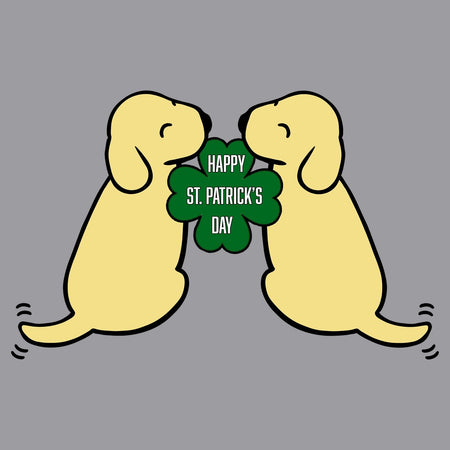 Happy St. Patricks Day Yellow Lab Puppies - Adult Adjustable Face Mask