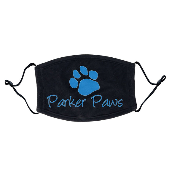 Parker Paws Blue Paw Print Logo - Adult Adjustable Face Mask