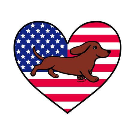 USA Flag Heart Red Smooth Doxie Running Left Chest - Kids' Unisex T-Shirt