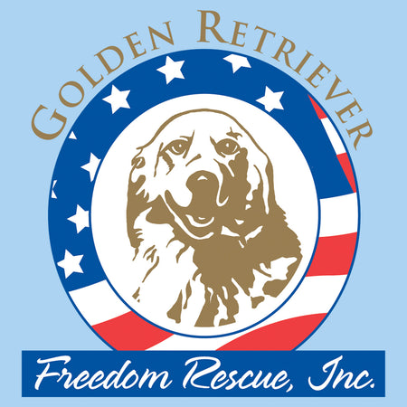 Golden Retriever Freedom Rescue Logo - Full Front - Adult Unisex T-Shirt