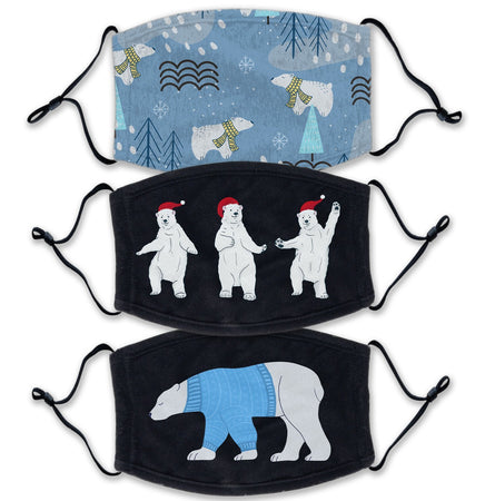 Christmas Polar Bear 3 Pack - Adult Adjustable Face Mask