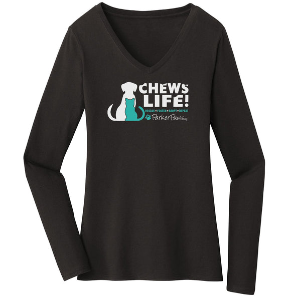Parker Paws Chews Life - Women's V-Neck Long Sleeve T-Shirt