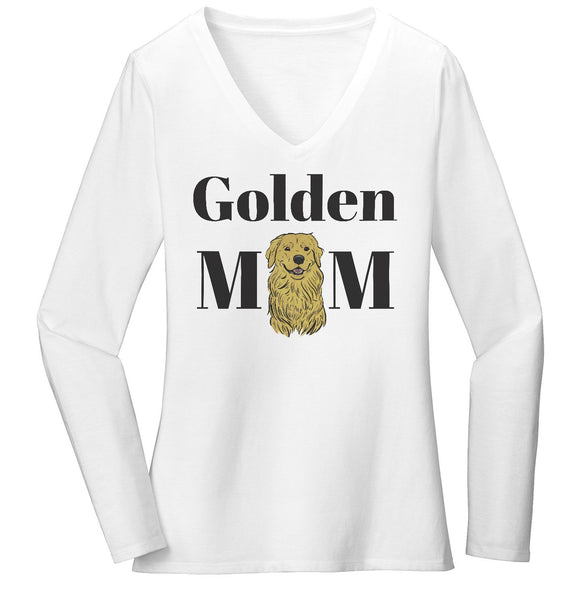 Golden Mom Illustration - Women's V-Neck Long Sleeve T-Shirt
