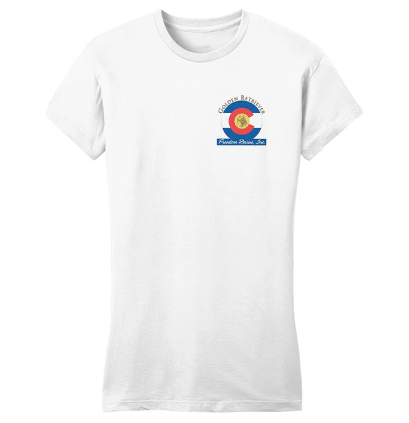 Golden Retriever Freedom Rescue Colorado Flag Logo - Left Chest - Ladies' Fitted T-Shirt