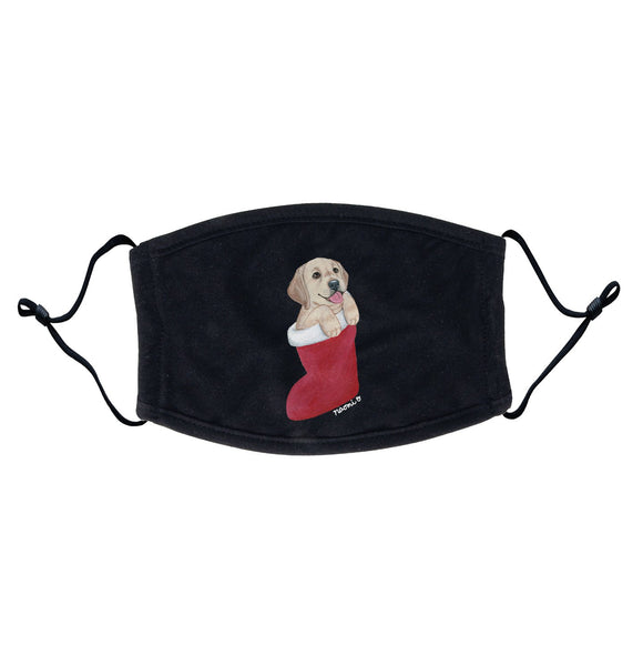 Yellow Lab in Stocking - Adult Adjustable Face Mask