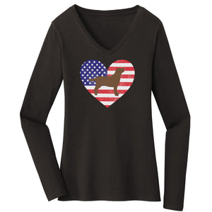 USA Flag Chocolate Lab Silhouette - Women's V-Neck Long Sleeve Shirt - WCLRR Online Store