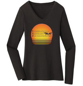 International Elephant Foundation - IEF Sunset Logo - Women's V-Neck Long Sleeve T-Shirt