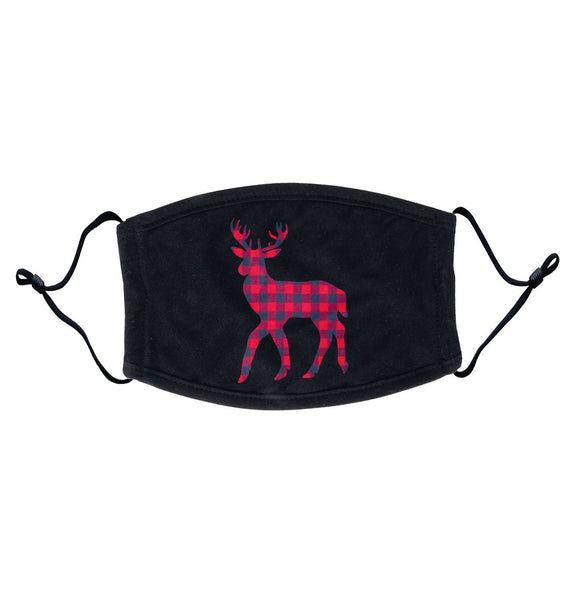 Plaid Deer - Adult Adjustable Face Mask