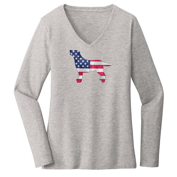 USA Flag Pattern Lab Silhouette - Women's V-Neck Long Sleeve Shirt - WCLRR Online Store