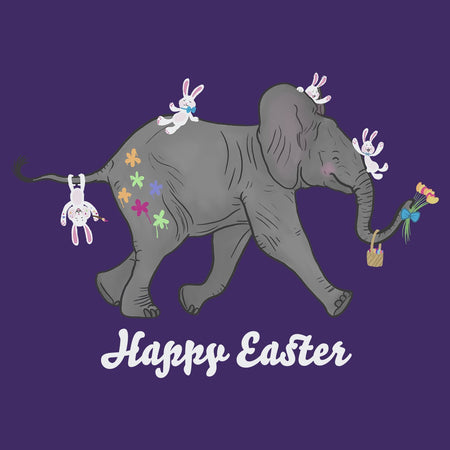 Easter Baby Elephant and Friends  - Women's Fitted T-Shirt