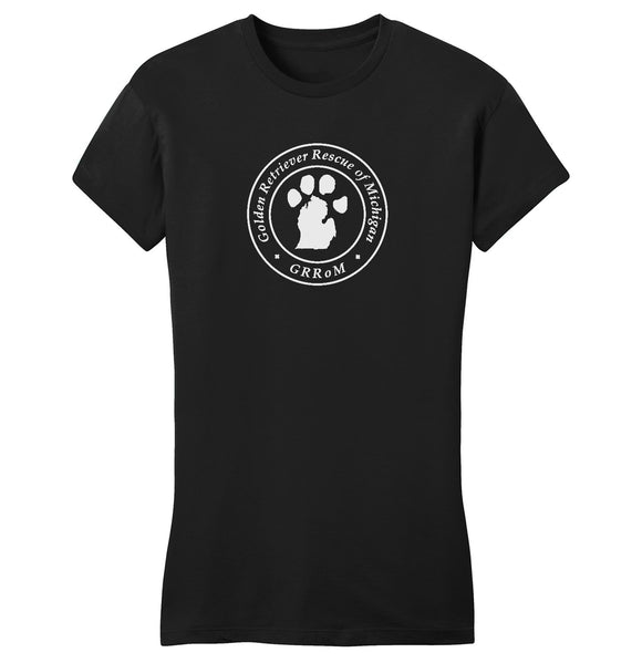 Golden Retriever Rescue of Michigan Logo - Full Front White - Ladies' Fitted T-Shirt