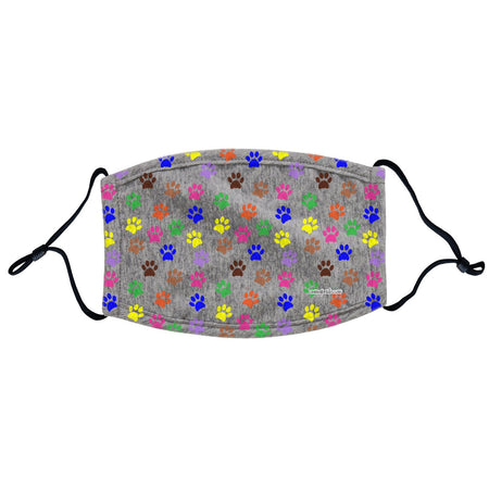 Colorful Paw Prints - Adult Adjustable Face Mask