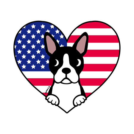 USA Flag Heart Boston Terrier Face Left Chest - Adult Unisex Hoodie Sweatshirt