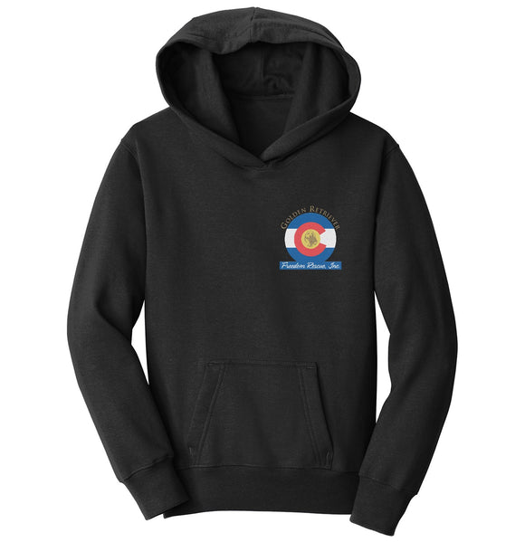 Golden Retriever Freedom Rescue Colorado Flag Logo - Left Chest - Youth Hoodie