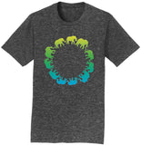 Elephant Silhouettes Circle - Adult Unisex T-Shirt