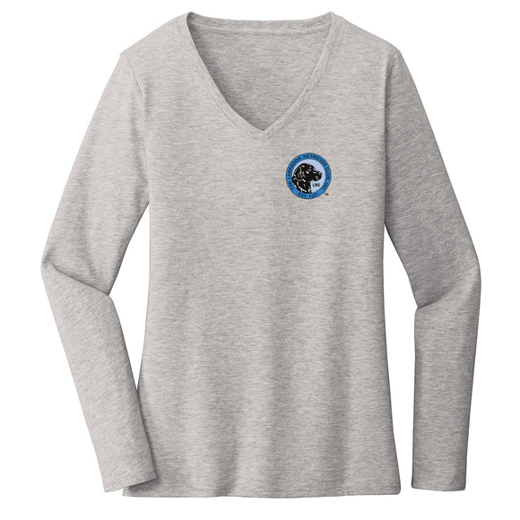 The Labrador Retriever Club - LRC Logo - Left Chest Blue - Women's V-Neck Long Sleeve T-Shirt