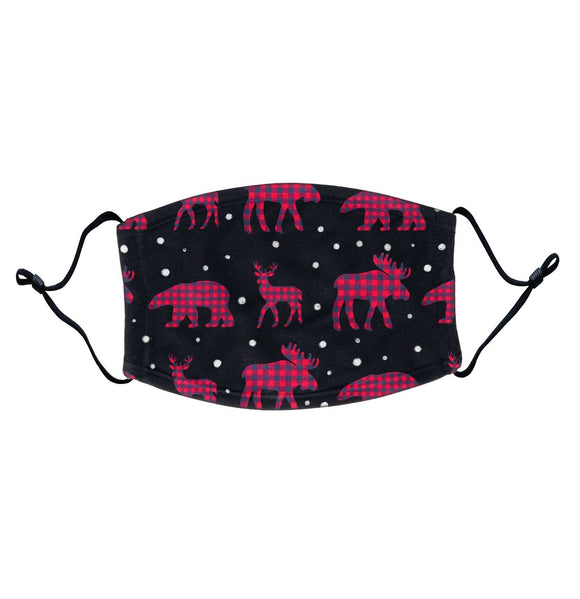Plaid Animals - Adult Adjustable Face Mask